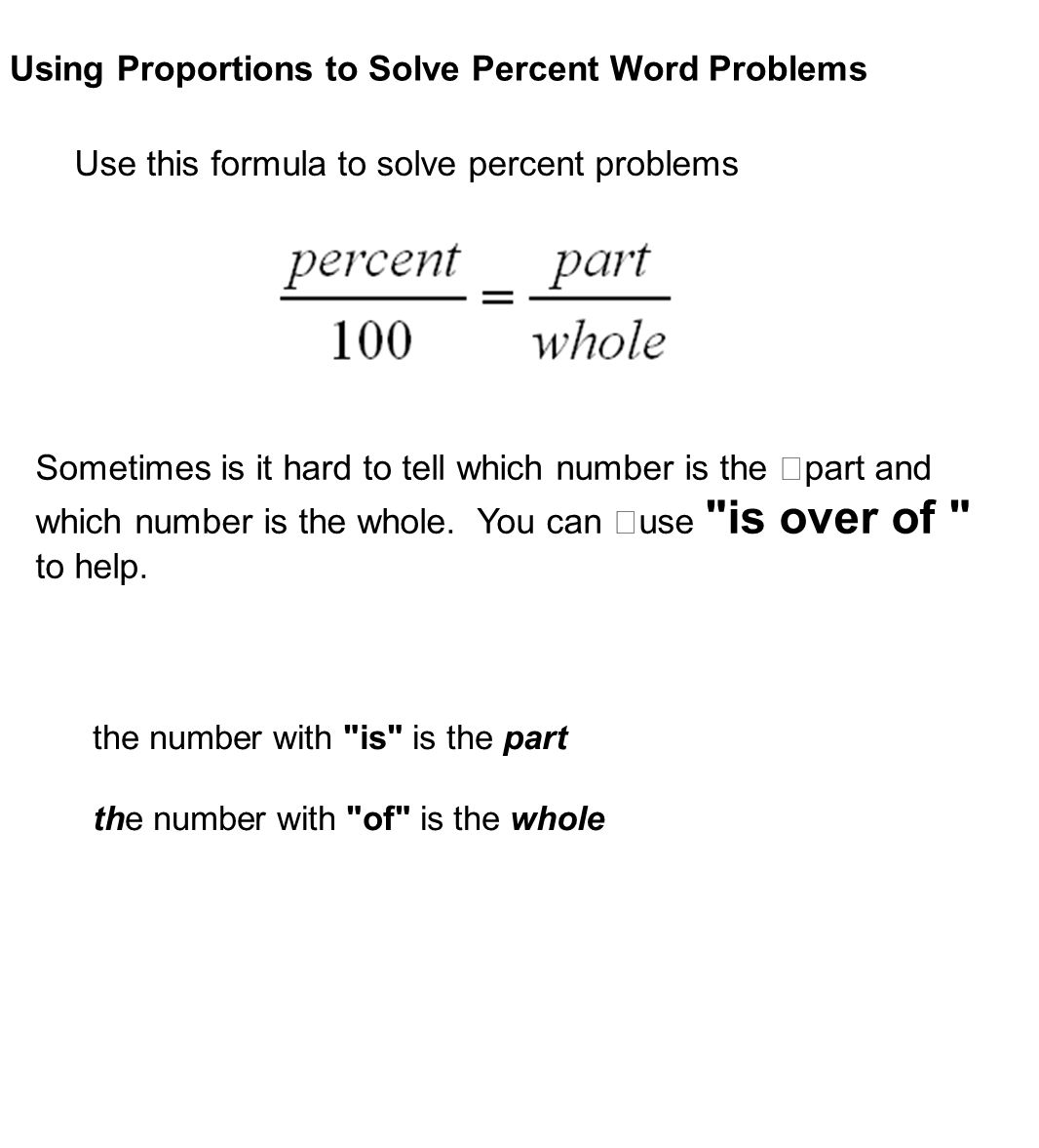 solving word problems with percentages