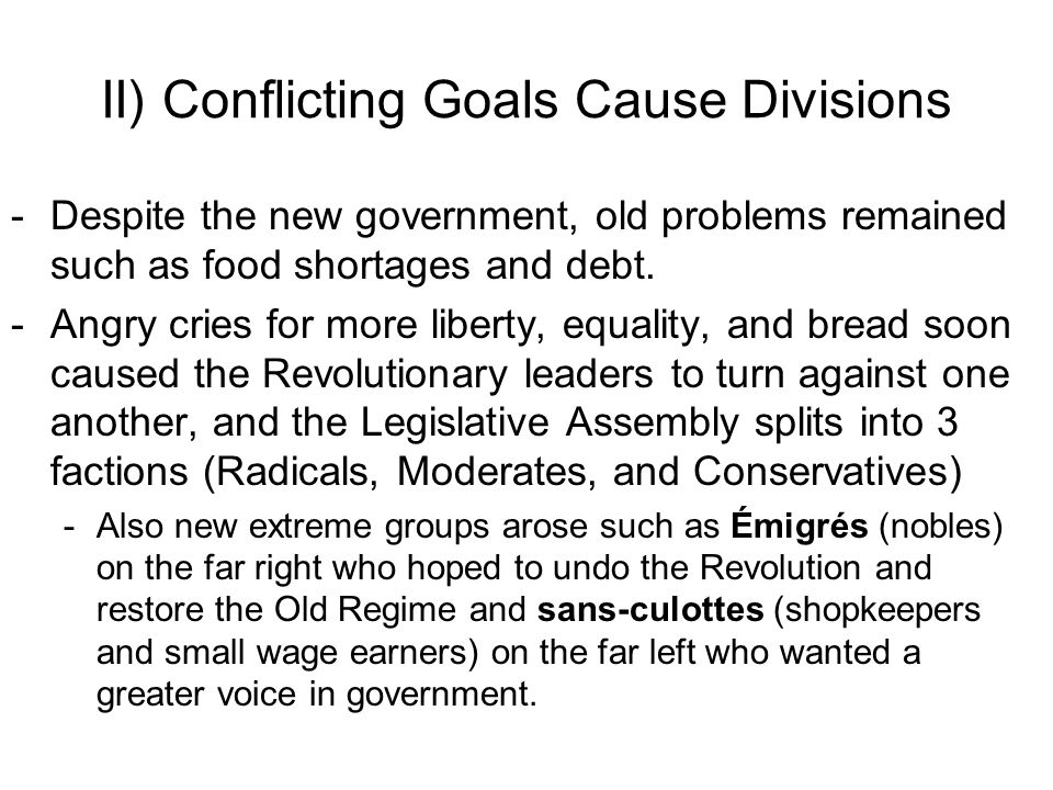 II) Conflicting Goals Cause Divisions -Despite the new government, old problems remained such as food shortages and debt.