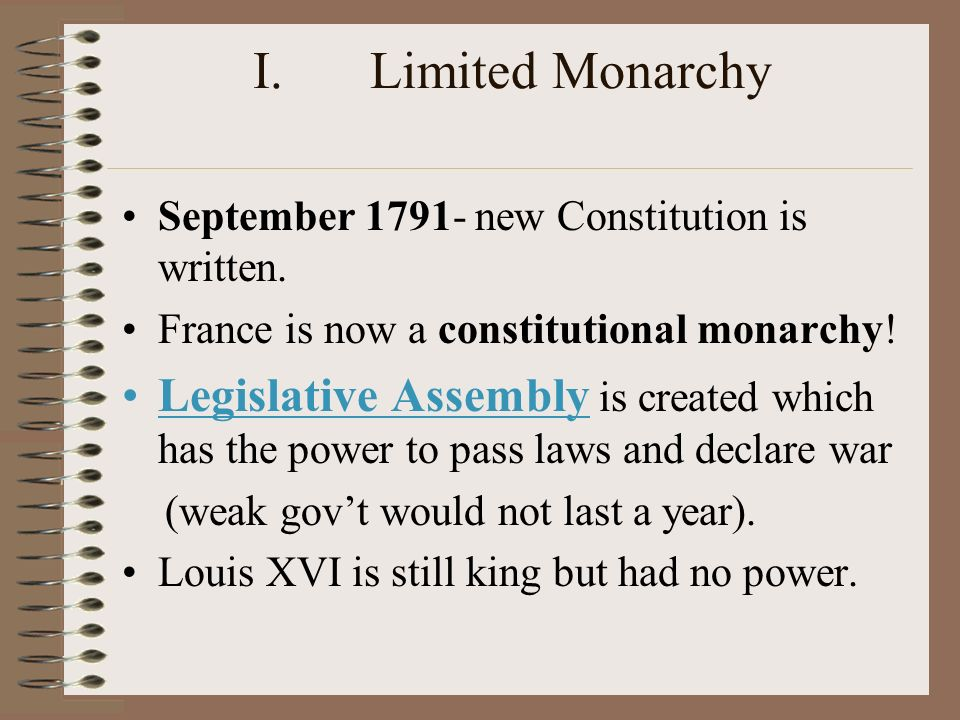I.Limited Monarchy September new Constitution is written.