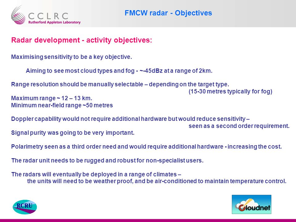 Charles L Wrench RCRU FMCW radar performance and cost  - ppt download