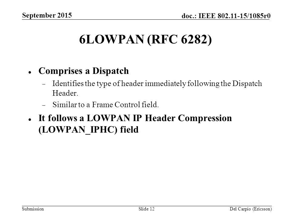 Submission doc : IEEE /1085r0 September 2015 Del Carpio