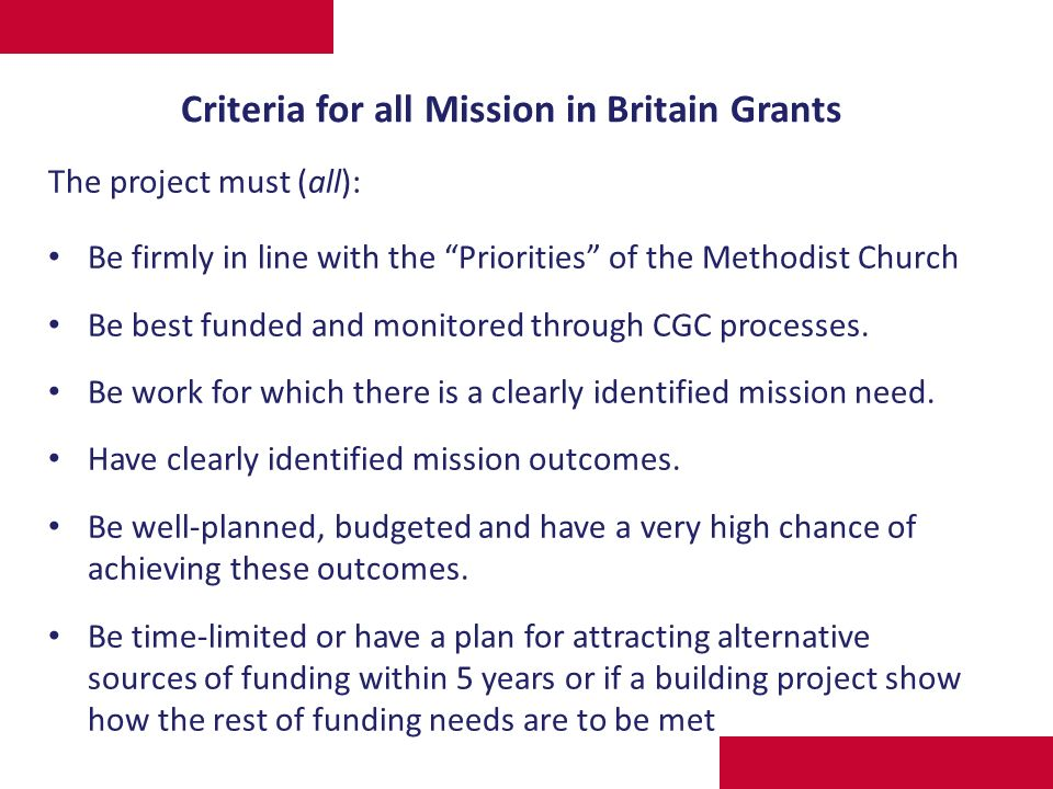 Grants as a tool for resourcing Mission (Part 2) Helen