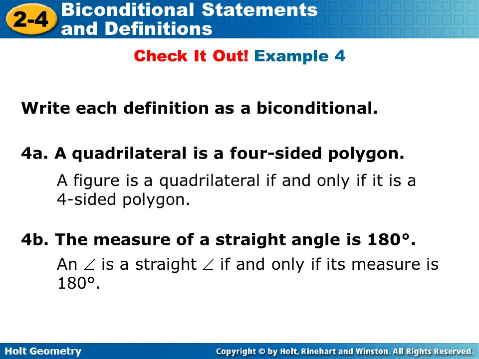 lesson 2-4 problem solving biconditional statements and definitions