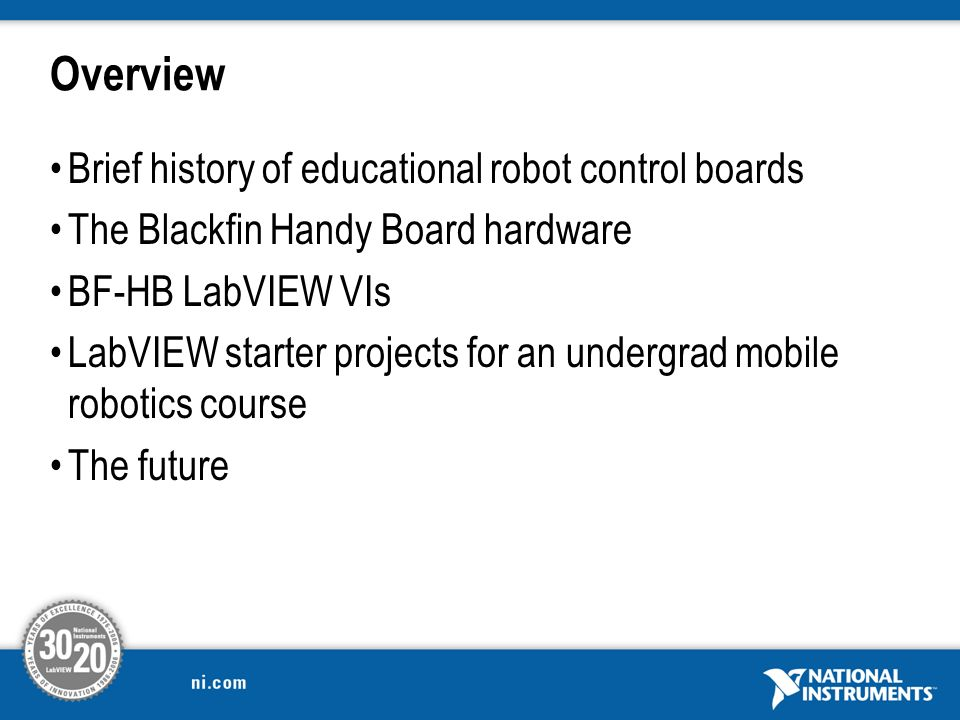 design of the new handy board for robotics using the ni labview2 overview brief history of educational robot control boards the blackfin handy board hardware bf hb labview vis labview starter projects for an undergrad
