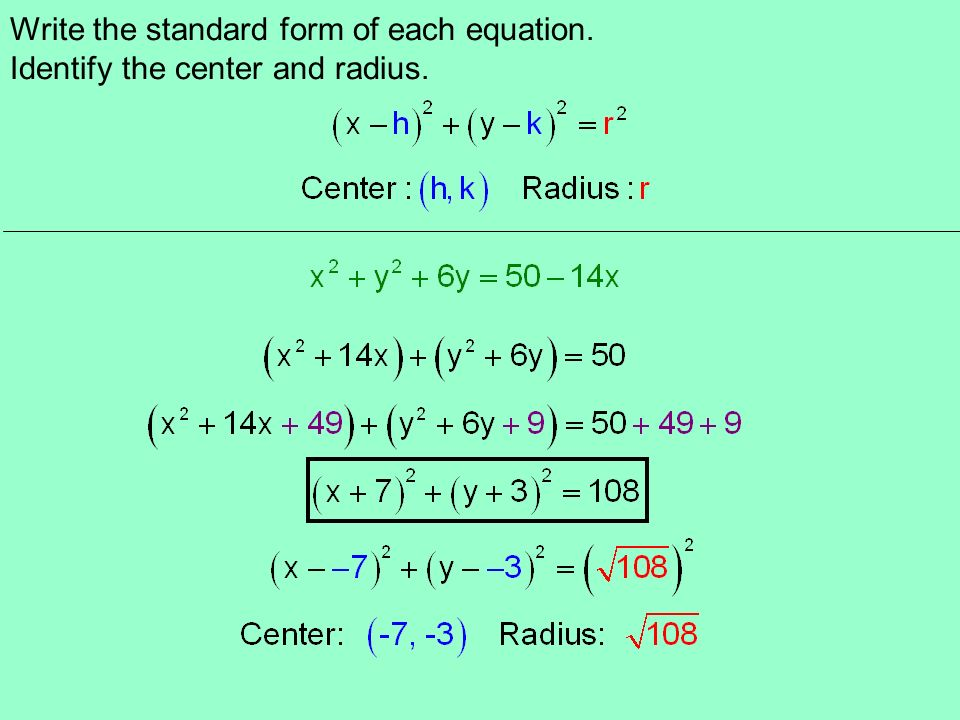 Unit 1 Conic Sections Section 12 The Circle Calculator Required