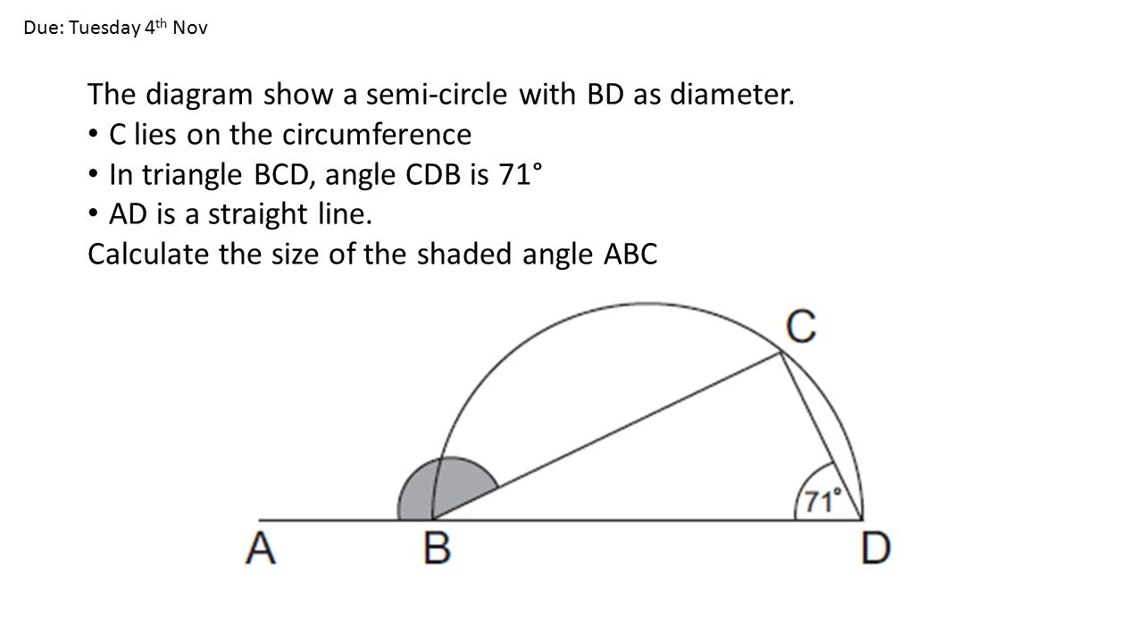 Homework s3 block 8 angles and circles the diagram show a semi the diagram show a semi circle with bd as diameter ccuart Image collections