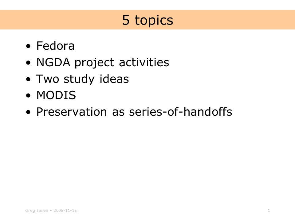 Greg Janee Topics Fedora NGDA Project Activities Two Study Ideas