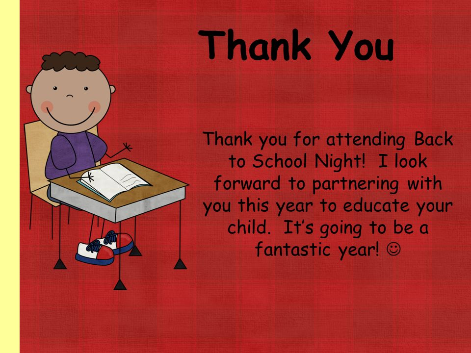 Image result for THank you for coming to back to school night