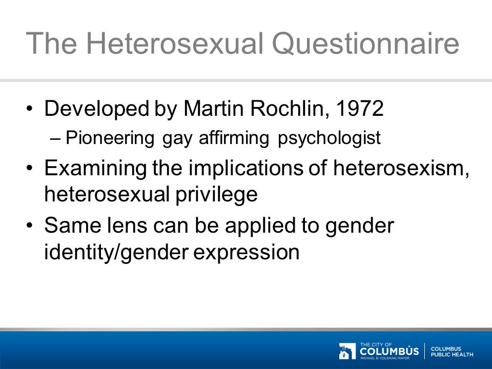 Heterosexual questionnaire by martin rochlin
