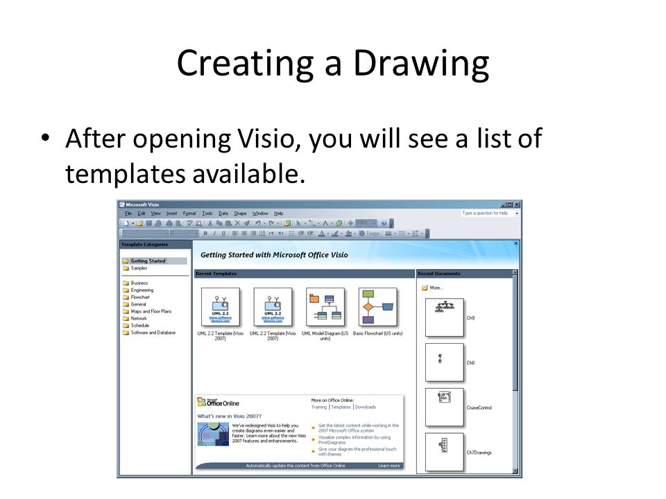 Using COMET with Visio Visio UML Modeling  Creating a