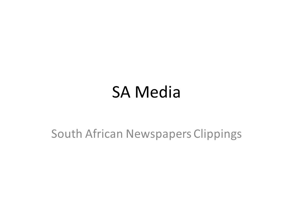 SA Media South African Newspapers Clippings  SA Media covers