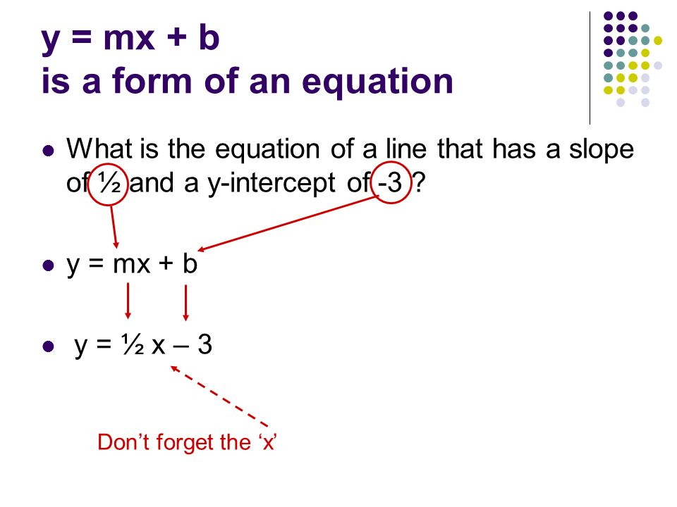 Unit 3 Part 2 Writing Equations Ax By C Standard Form Y Mx