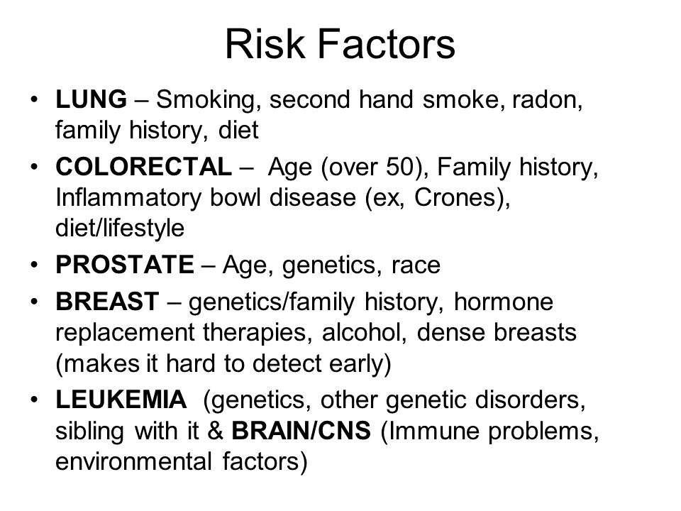 Risk Factors LUNG – Smoking, second hand smoke, radon, family history, diet COLORECTAL – Age (over 50), Family history, Inflammatory bowl disease (ex, Crones), diet/lifestyle PROSTATE – Age, genetics, race BREAST – genetics/family history, hormone replacement therapies, alcohol, dense breasts (makes it hard to detect early) LEUKEMIA (genetics, other genetic disorders, sibling with it & BRAIN/CNS (Immune problems, environmental factors)