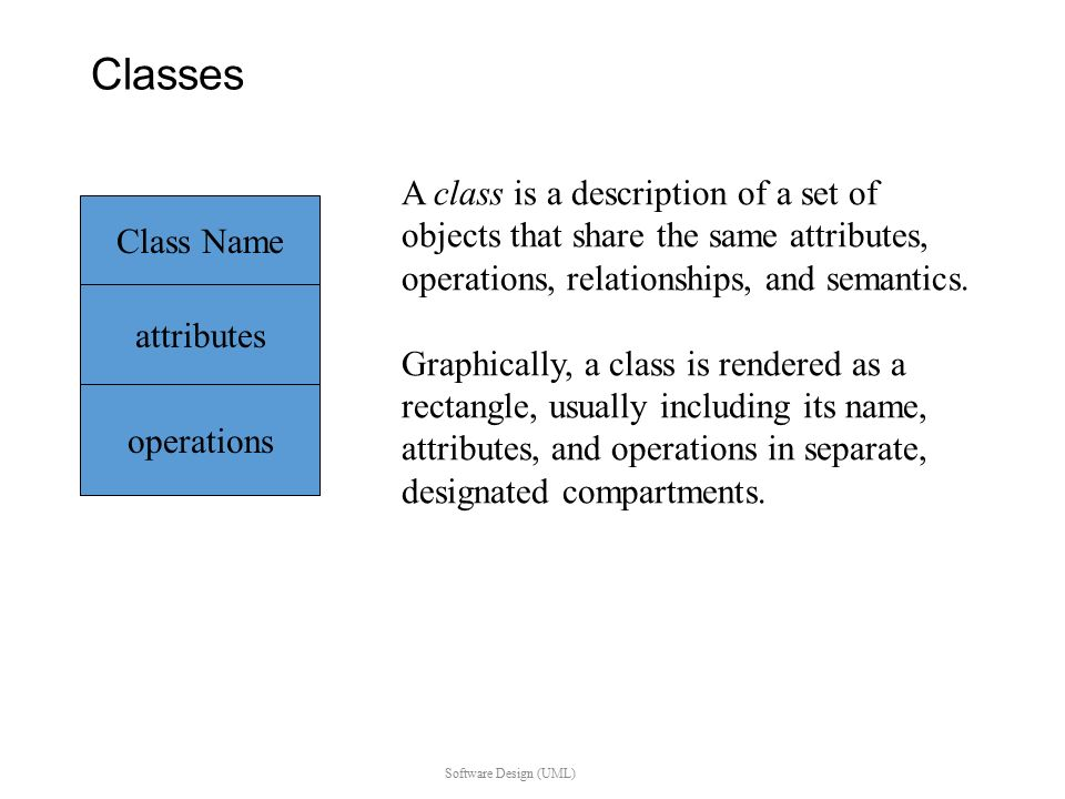 Class diagram classes software design uml class name attributes classes software design uml class name attributes operations a class is a description of ccuart Choice Image