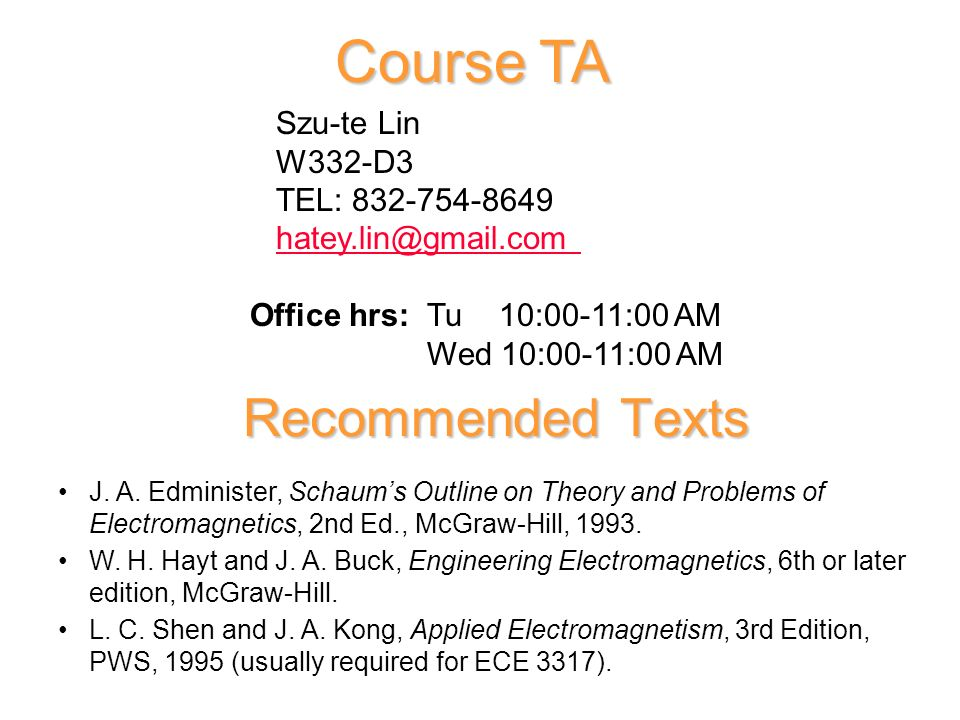 Ece 2317 Applied Electricity And Magnetism Prof D Wilton Dept Of