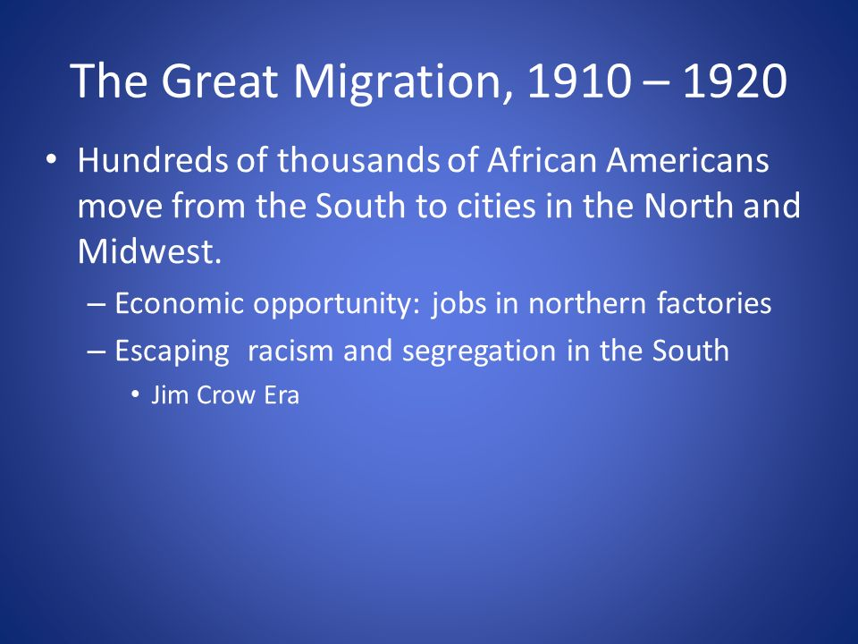 The Great Migration, 1910 – 1920 Hundreds of thousands of African Americans move from the South to cities in the North and Midwest.
