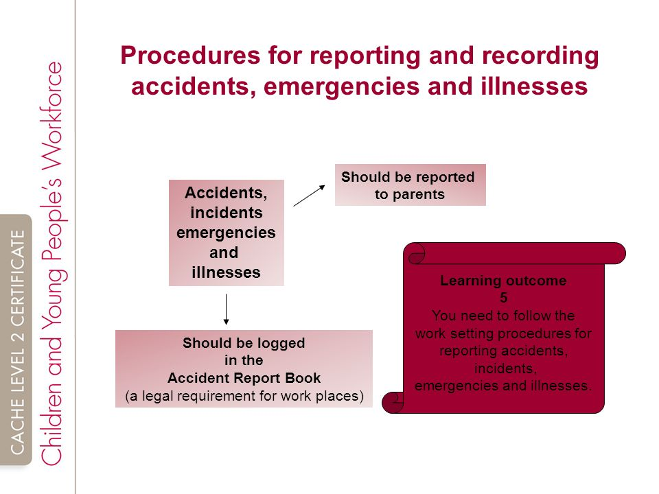 explain the correct procedures for recording and reporting accidents and emergencies