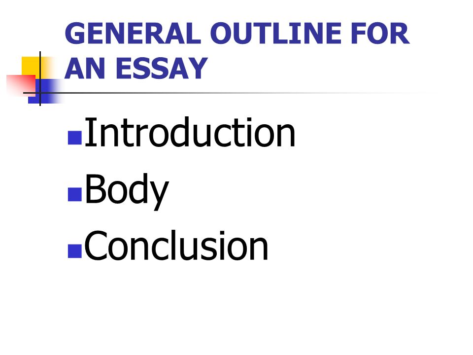 Essay Thesis Example  General Outline For An Essay Introduction Body Conclusion Essays On Importance Of English also Essays On Different Topics In English General Outline For An Essay Introduction Body Conclusion  Ppt  Response Essay Thesis