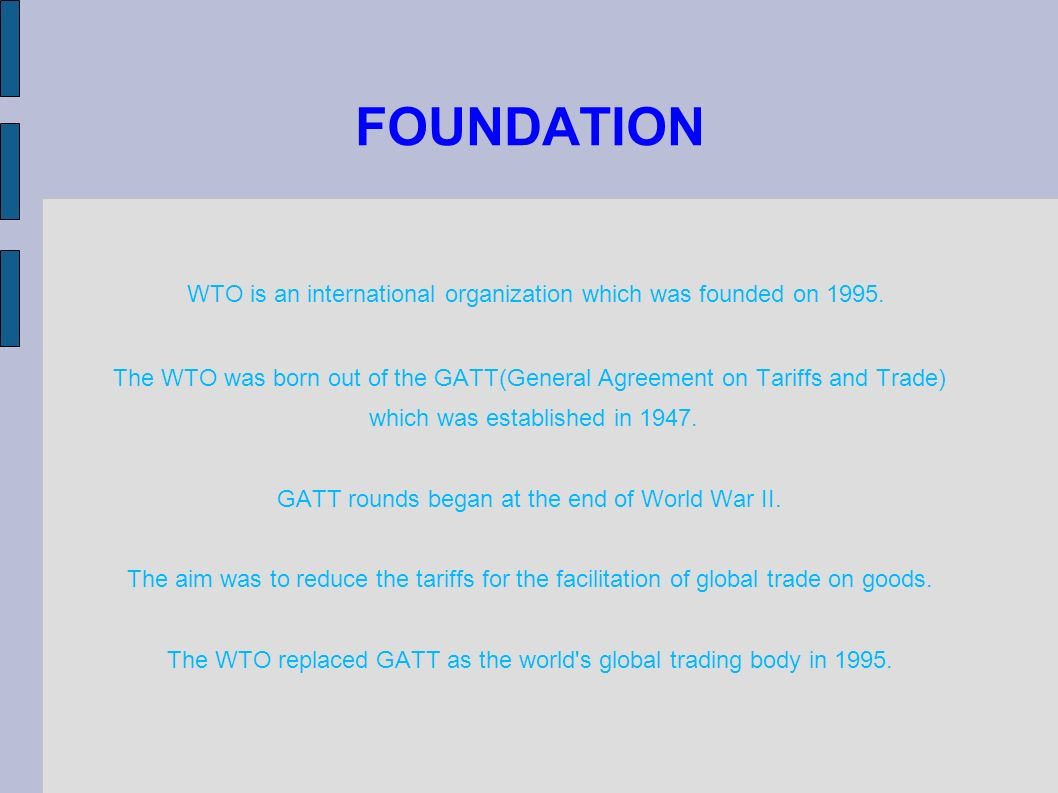 gatt vs wto essays It was succeeded by world trade organization (wto), which is a global organization, that encourages and facilitates inter-country trade and also helps in resolving trade disputes gatt is a multilateral agreement, between several nations of the world, that regulates international trade.