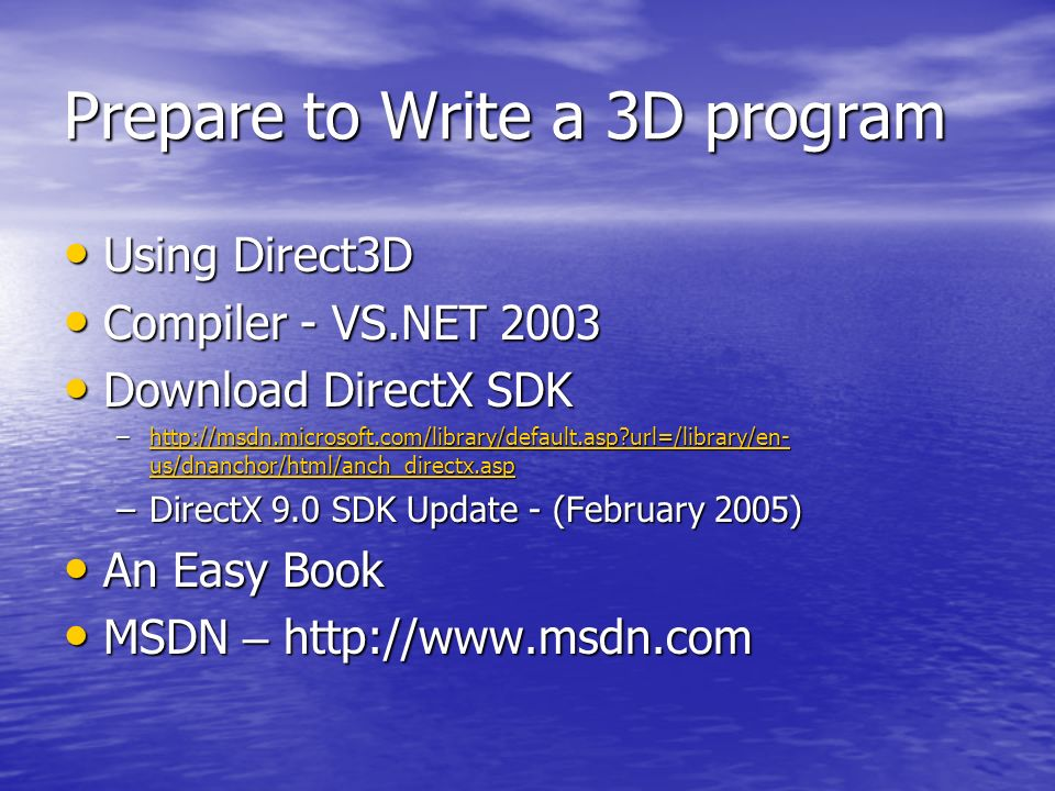3D Programming and DirectX API  Content Mathematics