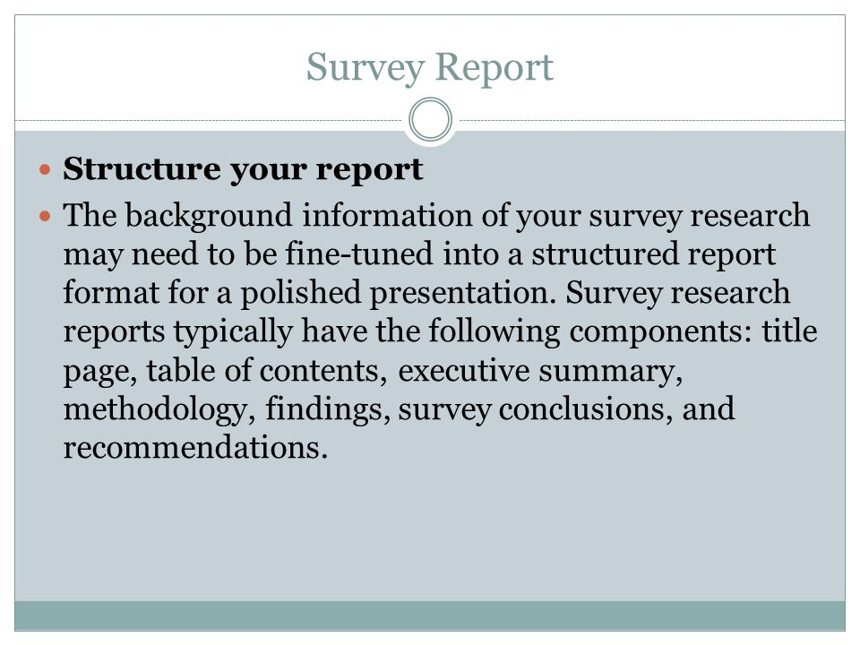 survey report reporting survey results when your survey and analysis