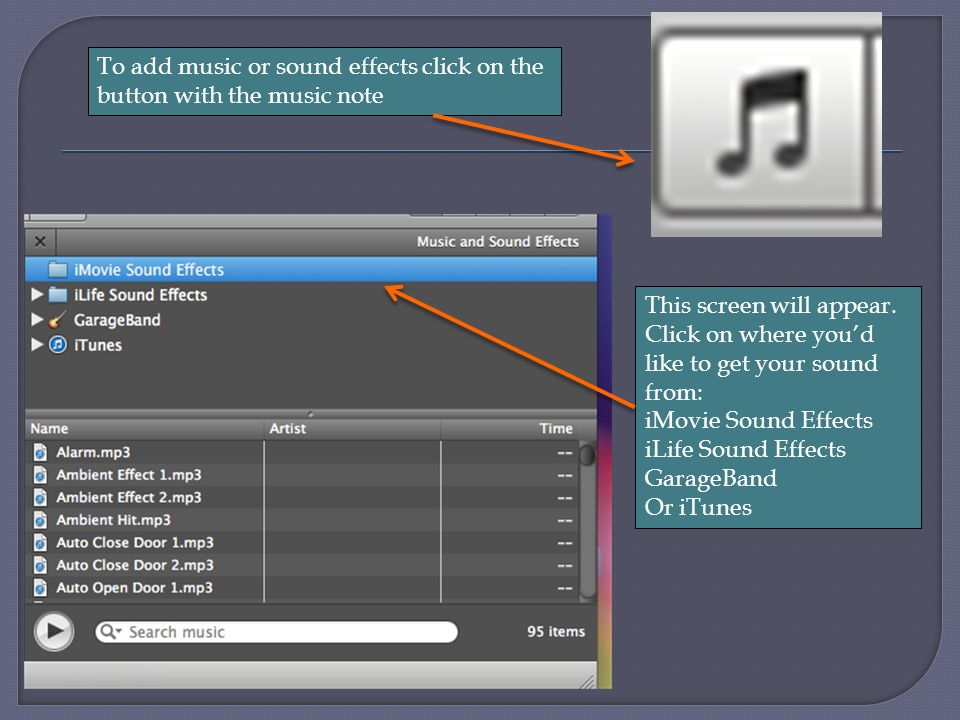 How to add to your screencast: Pictures Sound effects/music