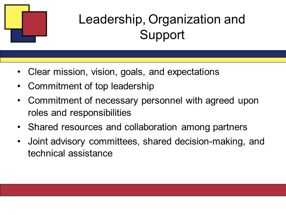 Leadership, Organization and Support Clear mission, vision, goals, and expectations Commitment of top leadership Commitment of necessary personnel with agreed upon roles and responsibilities Shared resources and collaboration among partners Joint advisory committees, shared decision-making, and technical assistance