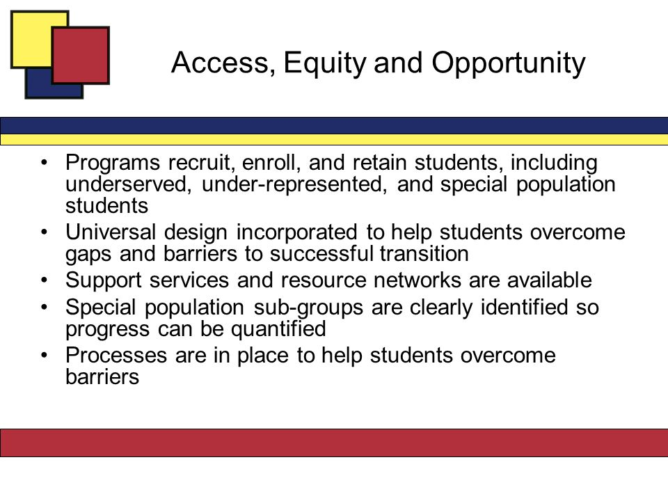 Access, Equity and Opportunity Programs recruit, enroll, and retain students, including underserved, under-represented, and special population students Universal design incorporated to help students overcome gaps and barriers to successful transition Support services and resource networks are available Special population sub-groups are clearly identified so progress can be quantified Processes are in place to help students overcome barriers