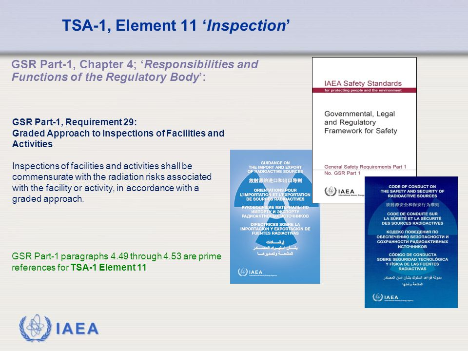 IAEA TSA-1, Element 11 'Inspection' GSR Part-1 paragraphs 4.49 through 4.53 are prime references for TSA-1 Element 11 GSR Part-1, Chapter 4; 'Responsibilities and Functions of the Regulatory Body': GSR Part-1, Requirement 29: Graded Approach to Inspections of Facilities and Activities Inspections of facilities and activities shall be commensurate with the radiation risks associated with the facility or activity, in accordance with a graded approach.