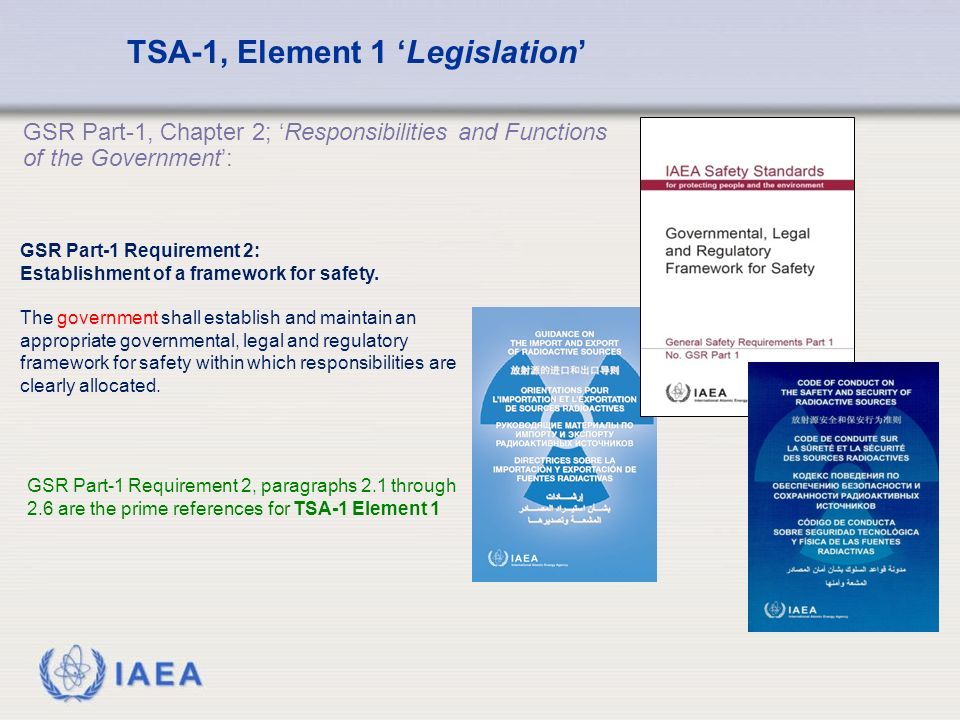 IAEA GSR Part-1, Chapter 2; 'Responsibilities and Functions of the Government': TSA-1, Element 1 'Legislation' GSR Part-1 Requirement 2: Establishment of a framework for safety.