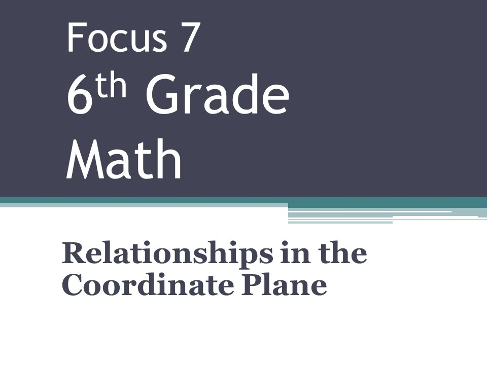 Focus 7 6 Th Grade Math Relationships In The Coordinate Plane Ppt