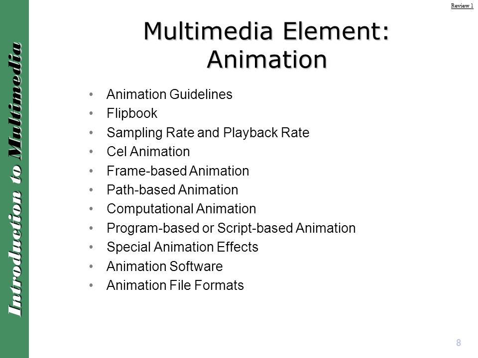 Introduction to Multimedia Review 1 - Lecture Notes Semester ppt
