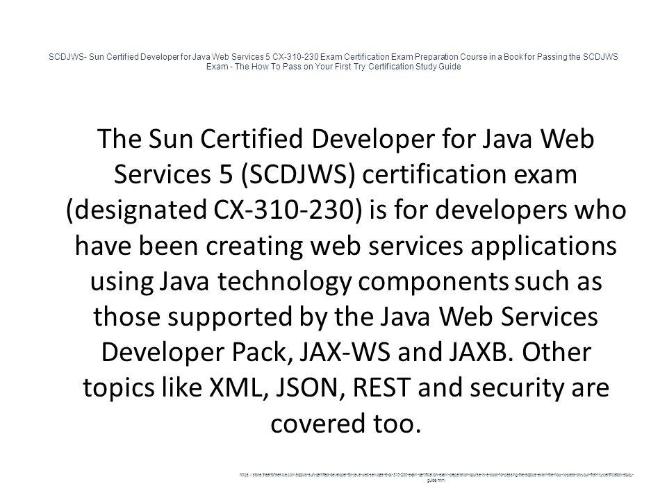 Scdjws Sun Certified Developer For Java Web Services 5 Cx Exam