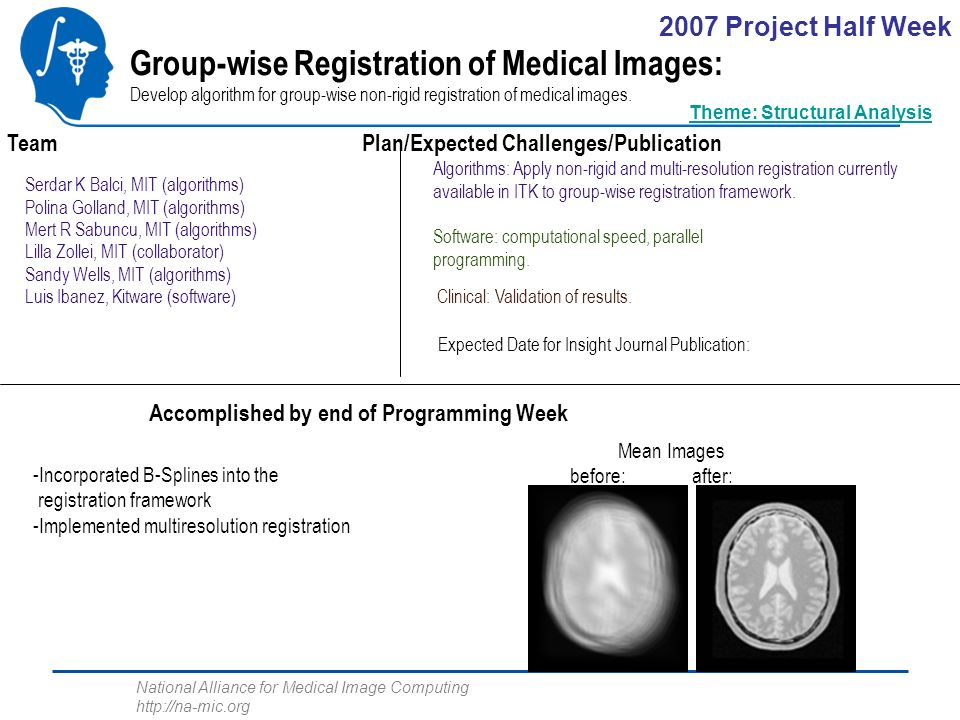 National Alliance for Medical Image Computing http://na-mic.org Group-wise Registration of Medical Images: Develop algorithm for group-wise non-rigid registration of medical images.