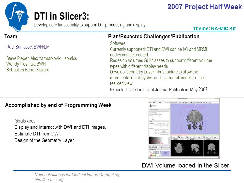 National Alliance for Medical Image Computing http://na-mic.org DTI in Slicer3: Develop core functionality to support DTI processing and display.