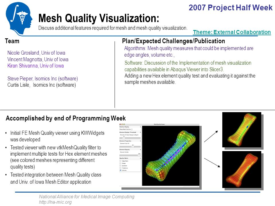 National Alliance for Medical Image Computing http://na-mic.org Mesh Quality Visualization: Discuss additional features required for mesh and mesh quality visualization.
