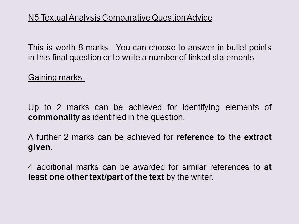 N5 Textual Analysis Final Question  N5 Textual Analysis