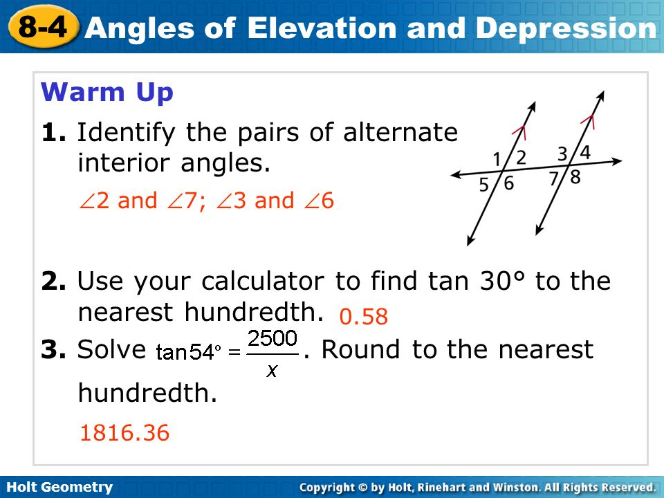 problem solving 8-4 angles of elevation and depression answers