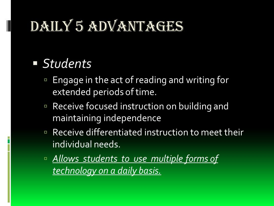 Literacy Classroom Management Tool Daily 5 Advantages Students