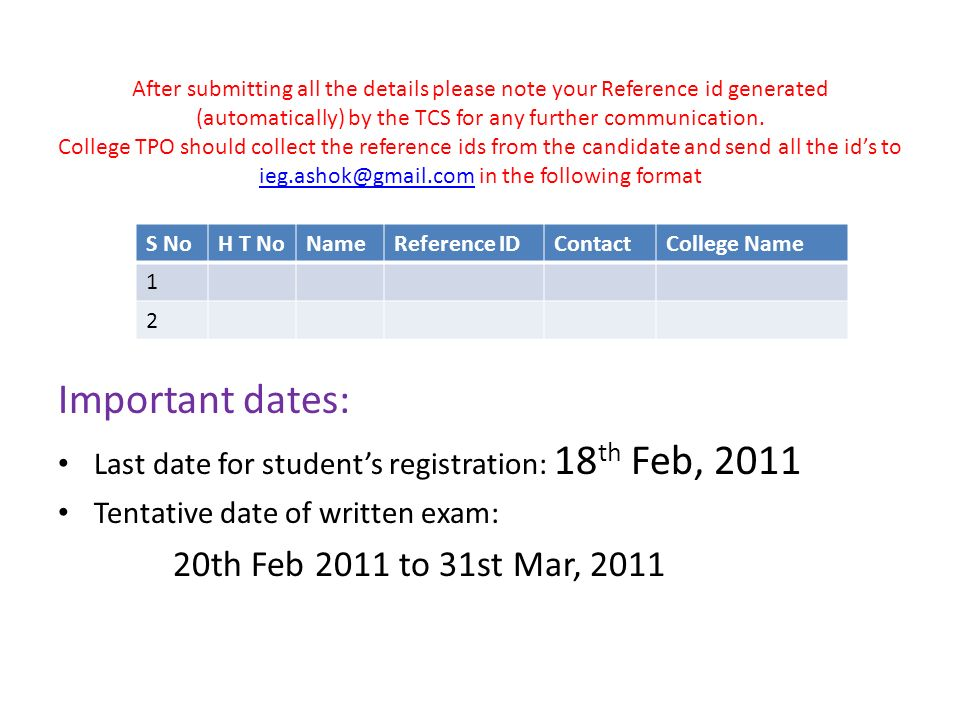 TCS Recruitment for Degree (BSc ) Register students  - ppt