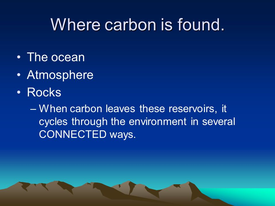 Where carbon is found.