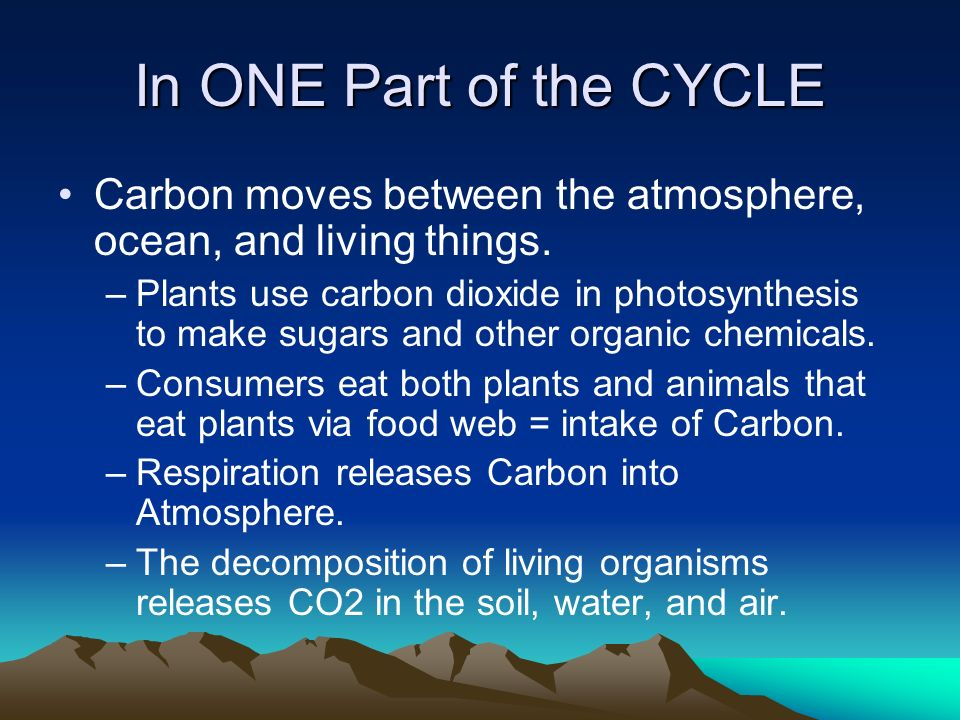 In ONE Part of the CYCLE Carbon moves between the atmosphere, ocean, and living things.