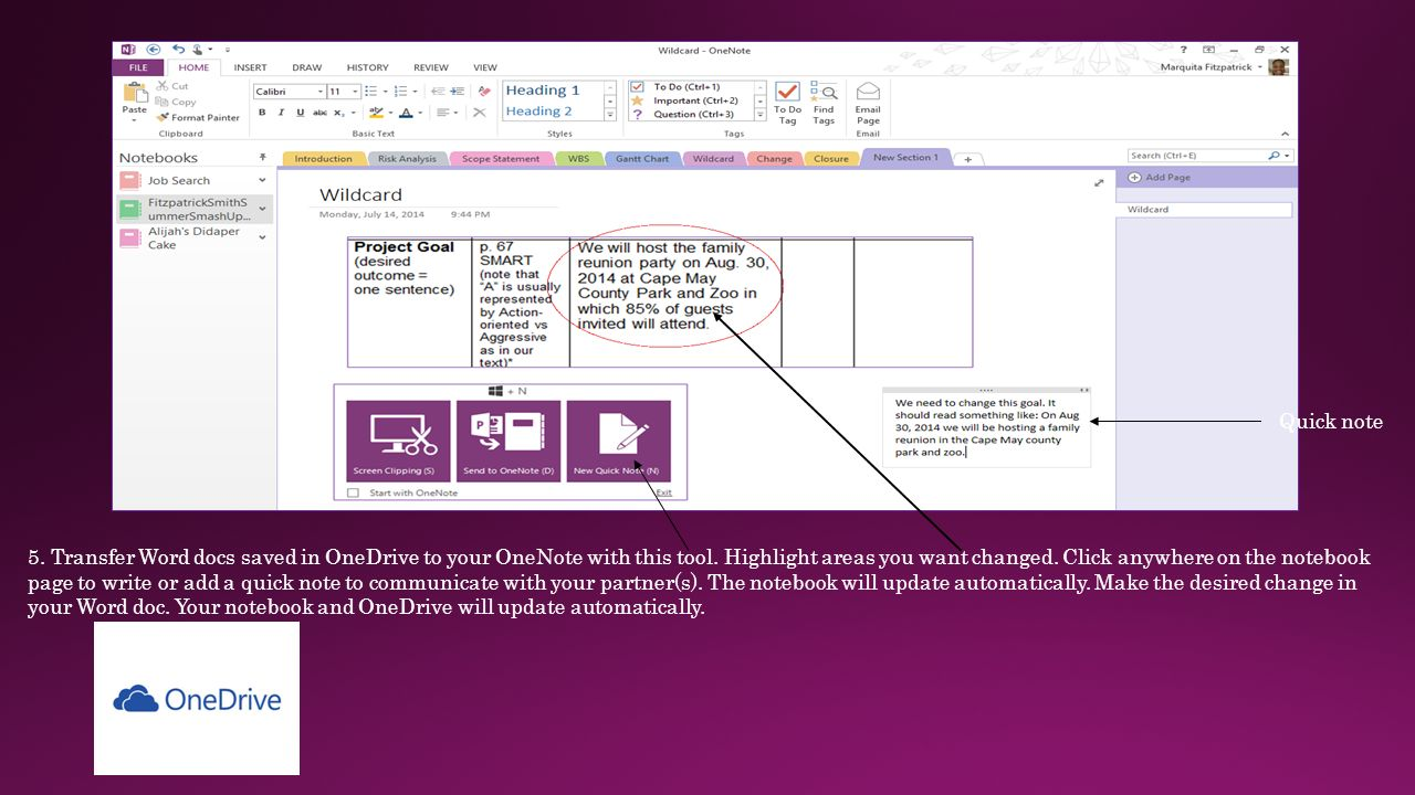 OneNote and our PM Project Marquita Fitzpatrick Corstina