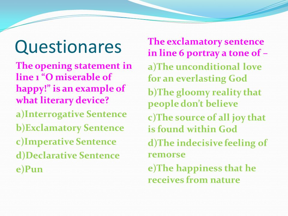 declarative sentences in english