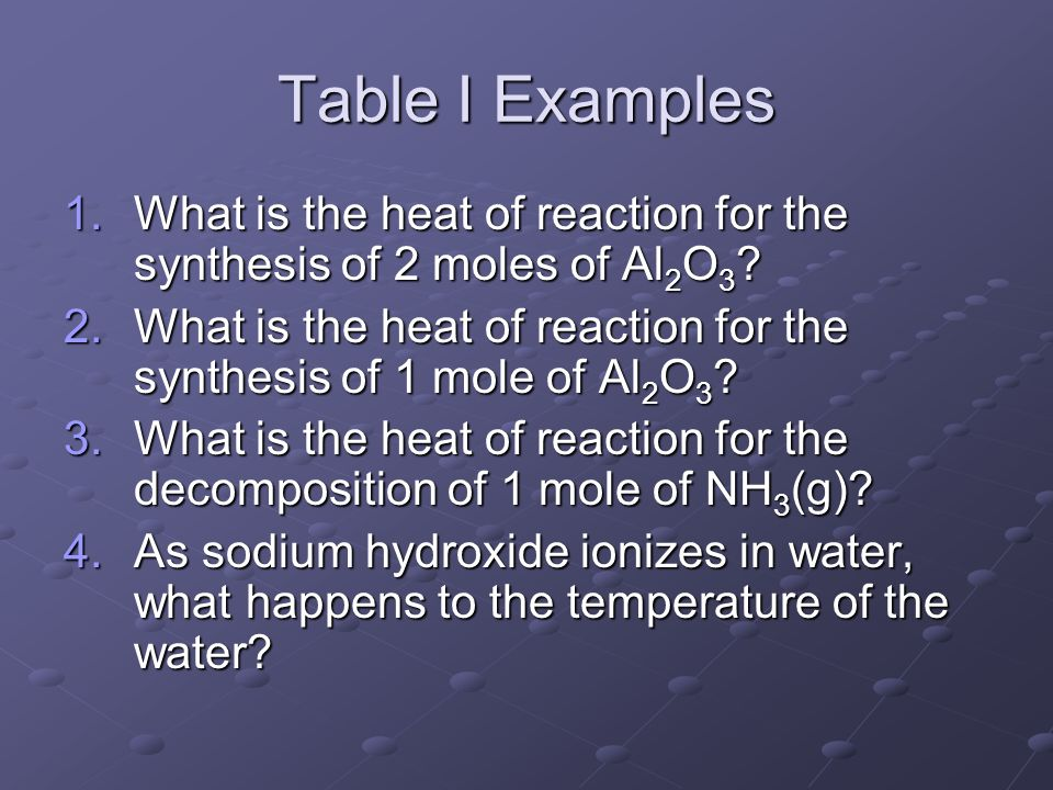 Table I Examples 1.What is the heat of reaction for the synthesis of 2 moles of Al 2 O 3 .