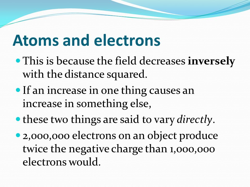 Atoms and electrons This is because the field decreases inversely with the distance squared.