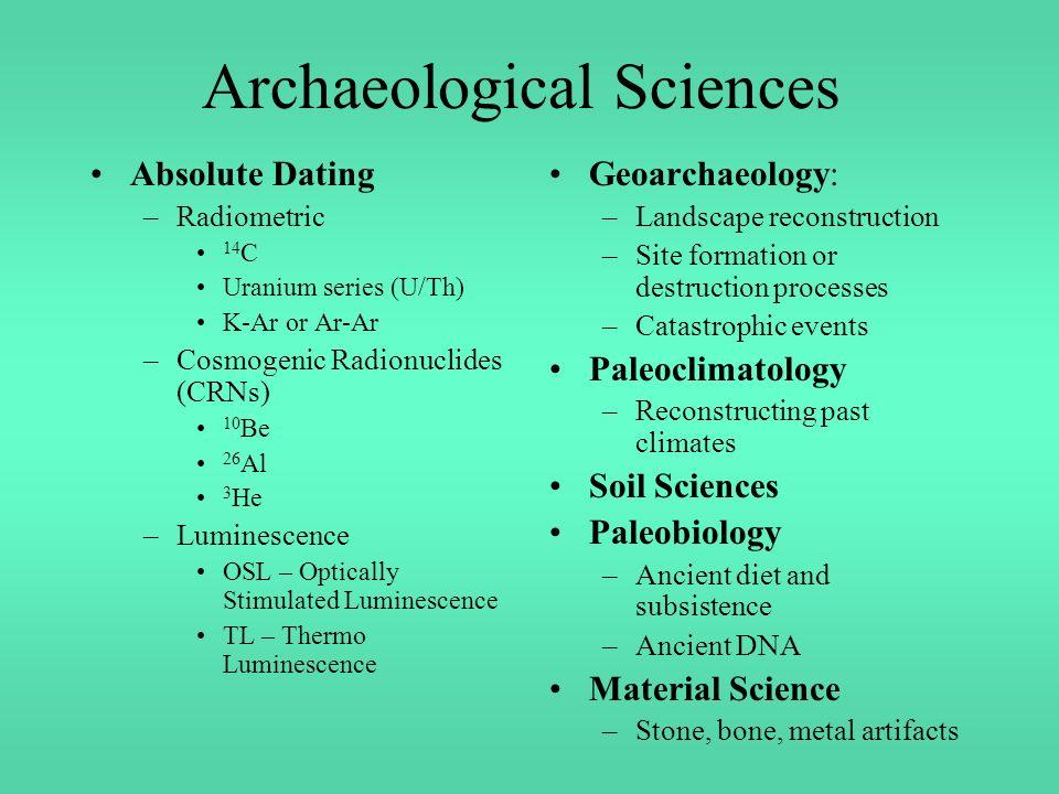 Uranium series dating archaeology