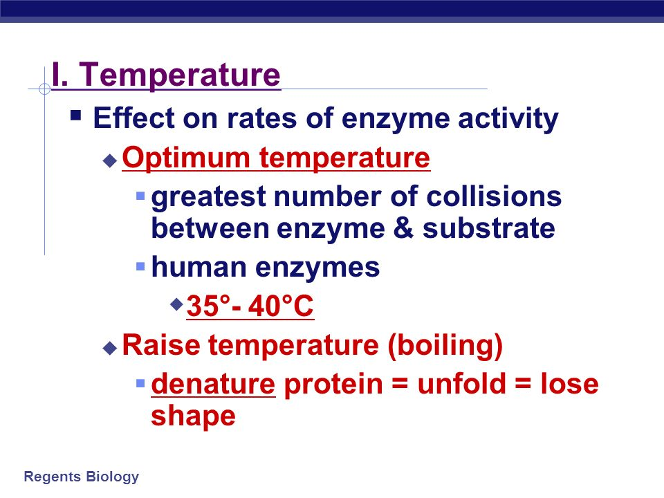H. What affects enzyme action.