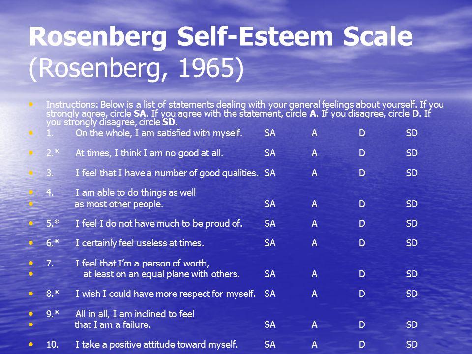 Тест на самоуважение шкала м розенберга