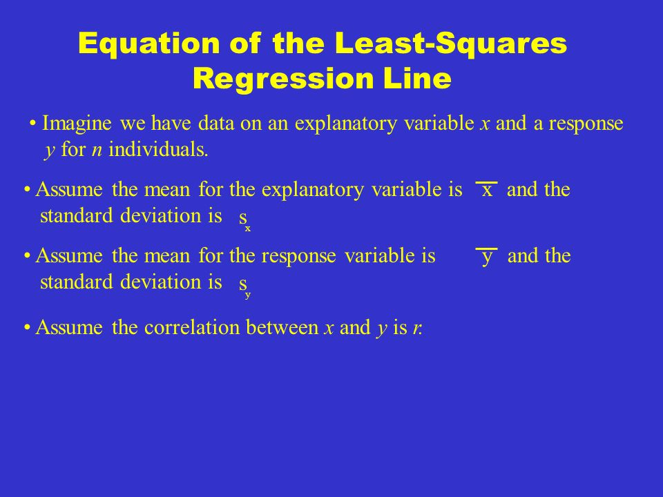 Least-Squares Regression Line The least squares regression line of y on x is the line that makes the sum of the squares of the vertical distances of the data points from the line as small as possible.